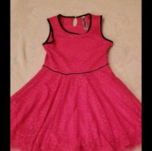 Pink Dress with Black Trim